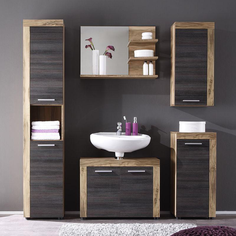 Ensemble meuble de salle de bain bois et gris moderne BORA