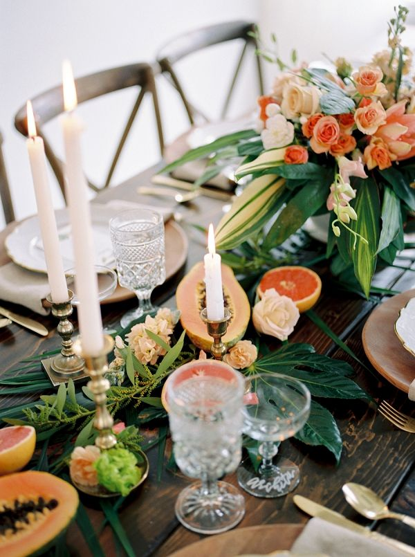 Tropical Fruit And Greenery Centerpiece Google Search Wedding Table Centerpieces Rustic Wedding Table Setting Long Table Wedding