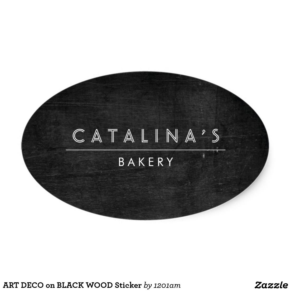 ART DECO on BLACK WOOD Sticker