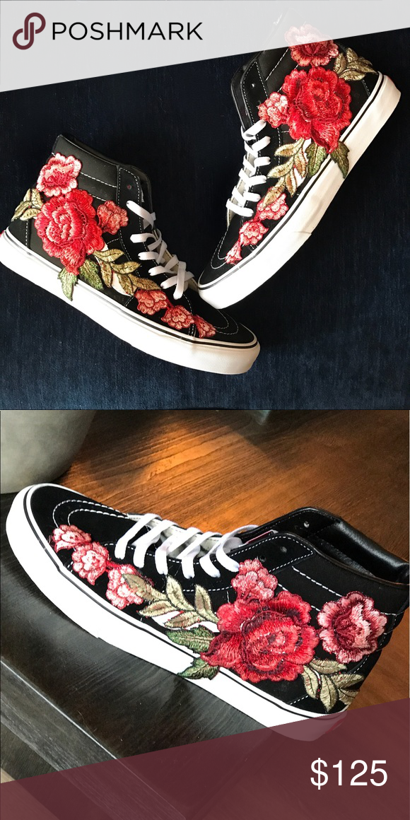 fe946d96cb15 Custom Rose Embroidered Hi-Top Vans Available in hi-top or low-top and  black or white. Unisex. Vans Shoes Sneakers