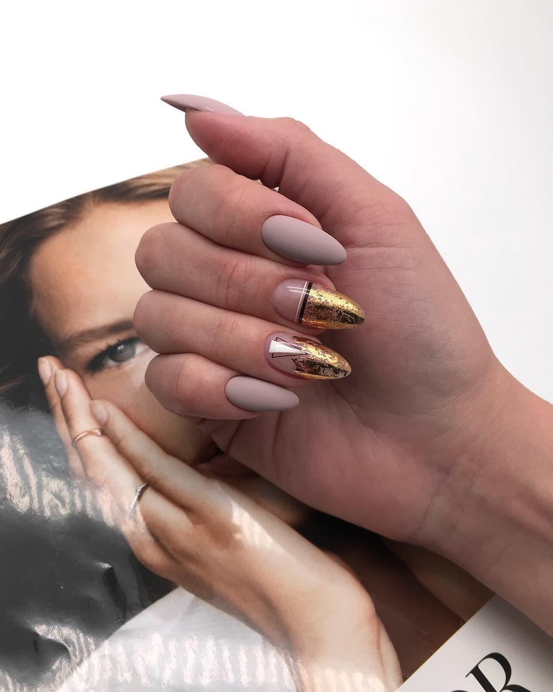matte nail design in winter