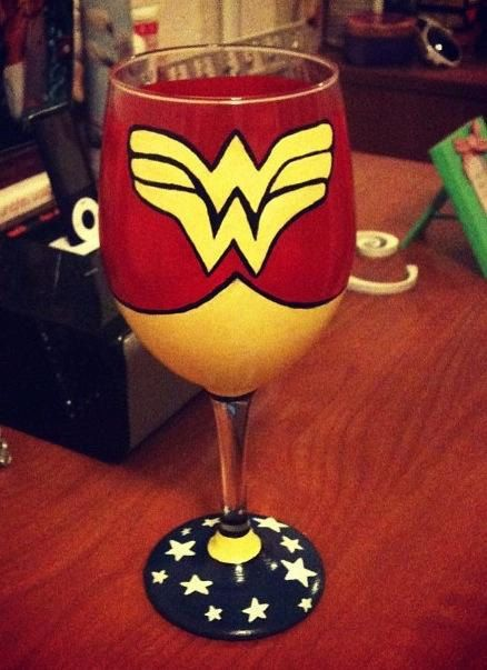 Wonder Woman themed wine glass by fideleamore143 on Etsy, $20.00