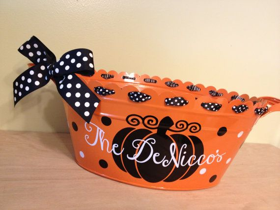 Personalized halloween scalloped oval metal bucket by DeLaDesign