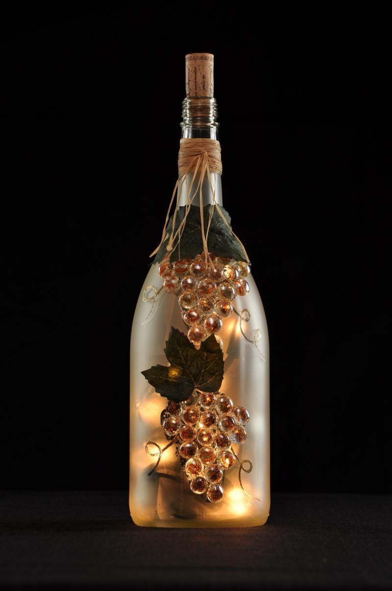 Wine bottle crafts with lights bottle de lites designs for Lighted wine bottle craft