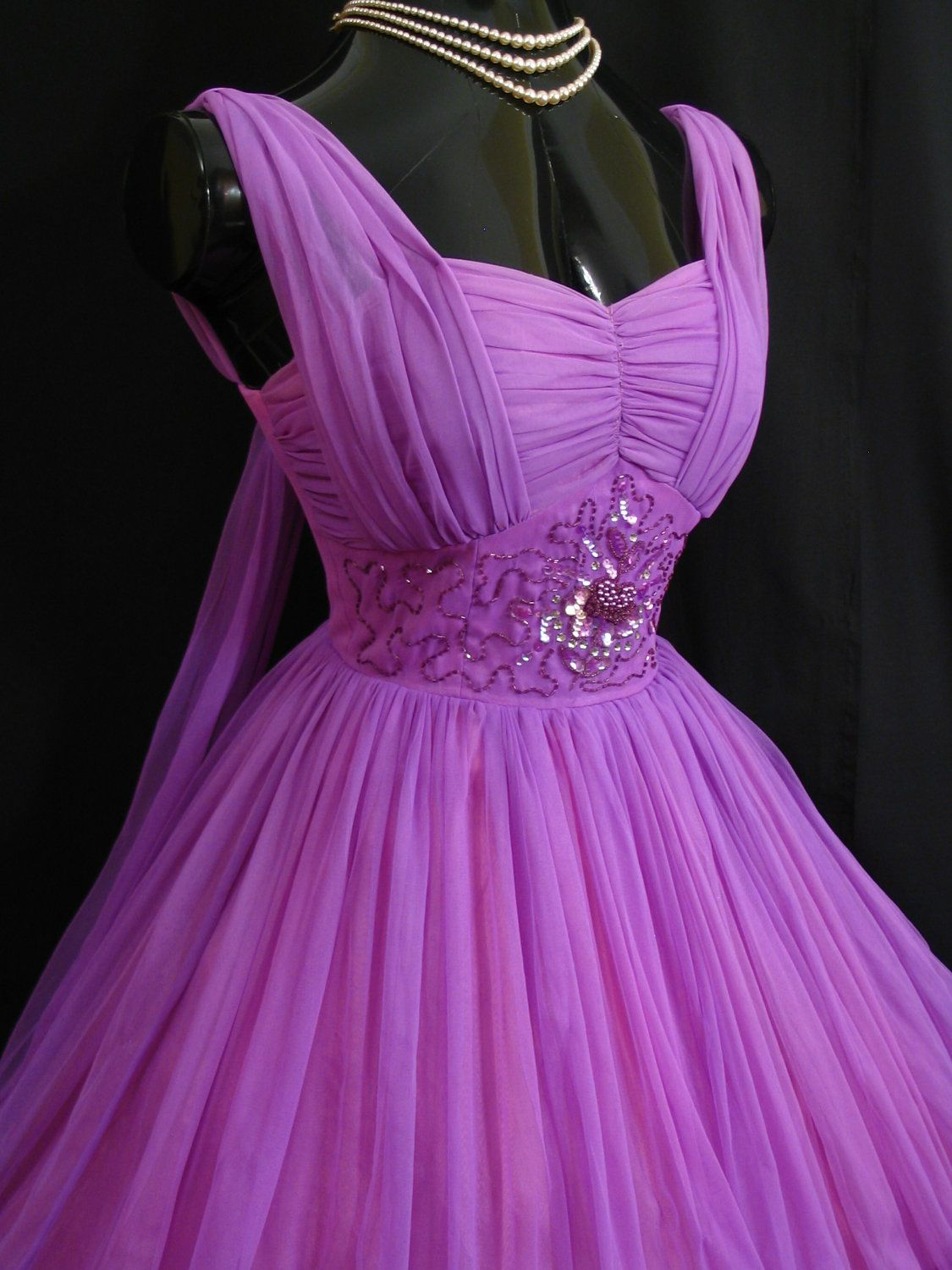 Vintage 1950\'s 50s Ruched Purple Violet Beaded Chiffon Organza Party ...