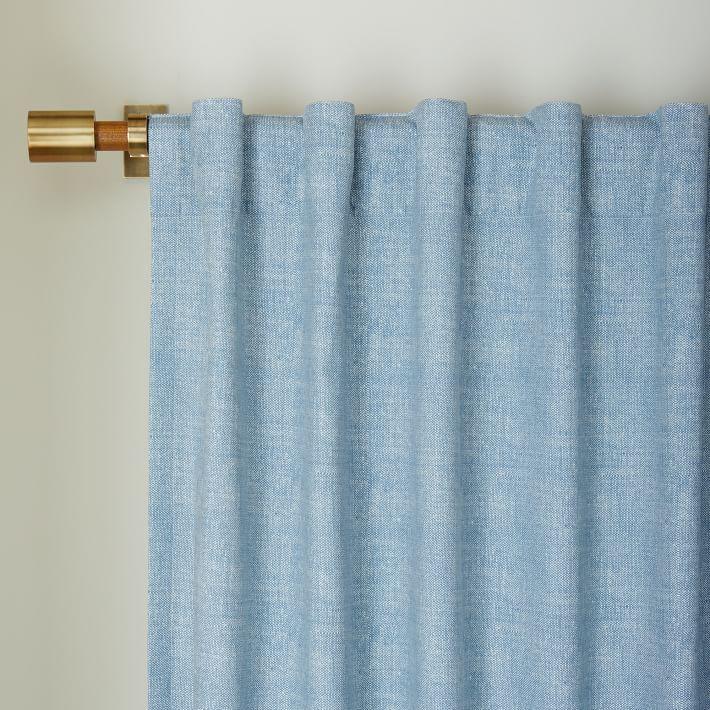 Cotton Canvas Chambray Print Curtain