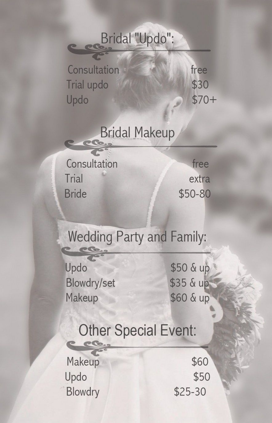 Wedding Hairstyles Prices