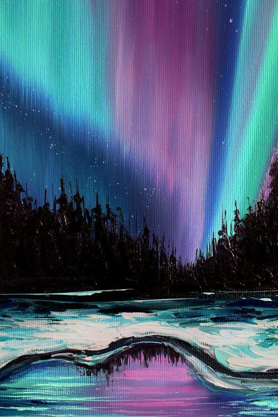 Northern lights art Winter landscape Aurora borealis art Galaxy painting