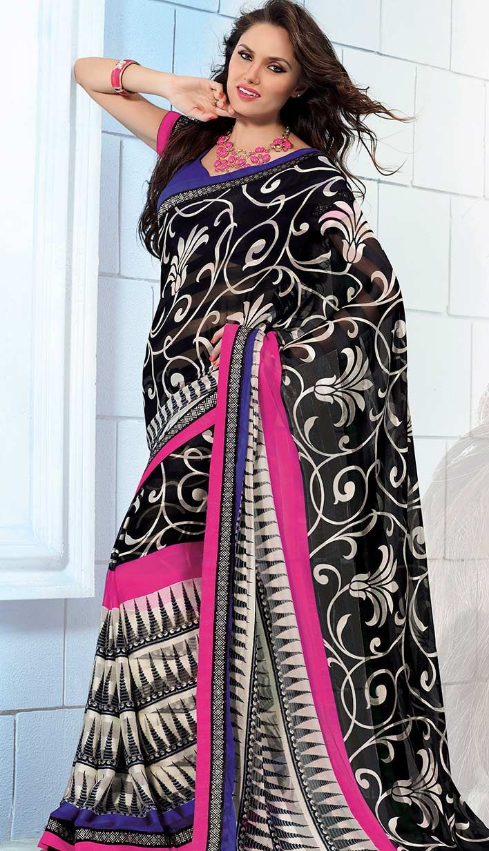Buy Online Fashionable Latest Black Georgette Printed Saree  #PrintedSaree Link- http://alturl.com/dp7x3