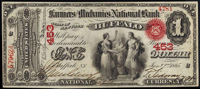 U S One Dollar Bill 1863 One Dollar Bill National Currency