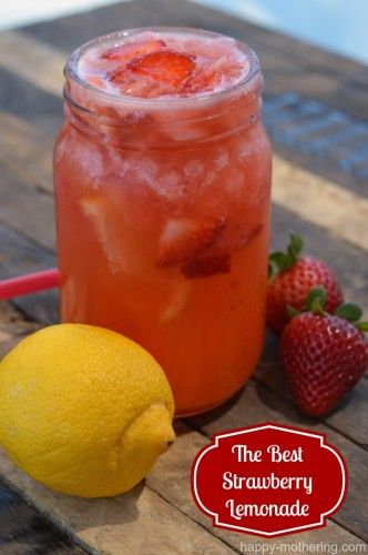The Best Homemade Strawberry Lemonade - Happy Mothering