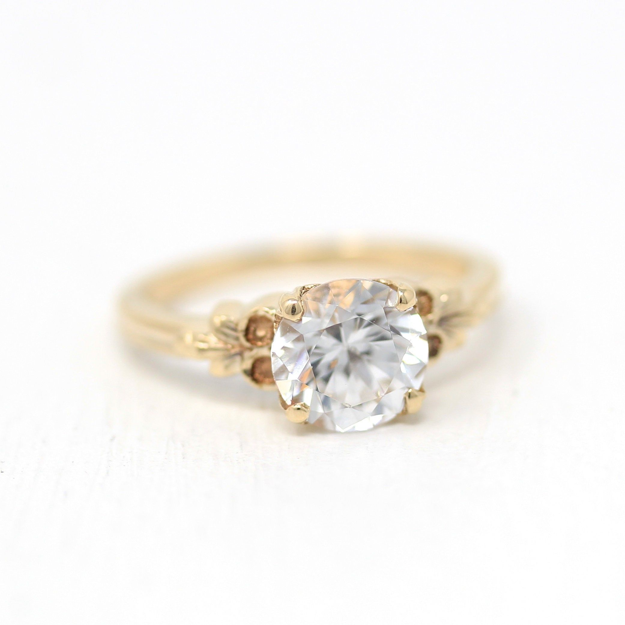 White Sapphire Ring Vintage 1940s 10k Yellow Gold Engagement Size 5 Alternative Colorless Genuine 2 08 Cts Gemstone Flower Fine Jewelry In 2020 Vintage Sapphire Ring White Sapphire Ring Yellow Gold Engagement