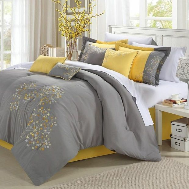 Queen Size 8 Piece Comforter Set Fl Tree Of Life Modern Grey Yellow