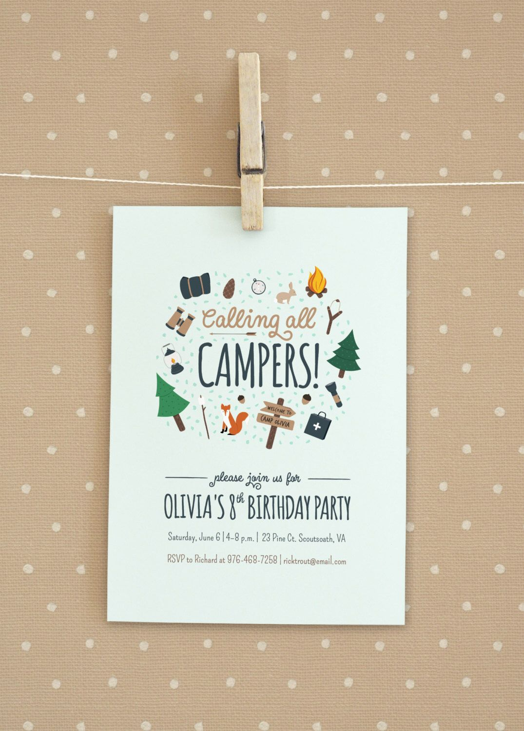 Camping Birthday Party Invitation | Party invitations, Birthdays ...