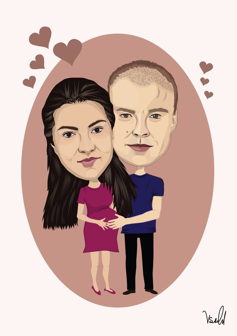 Custom Wedding caricature from photo as Anniversary wedding gift for couple