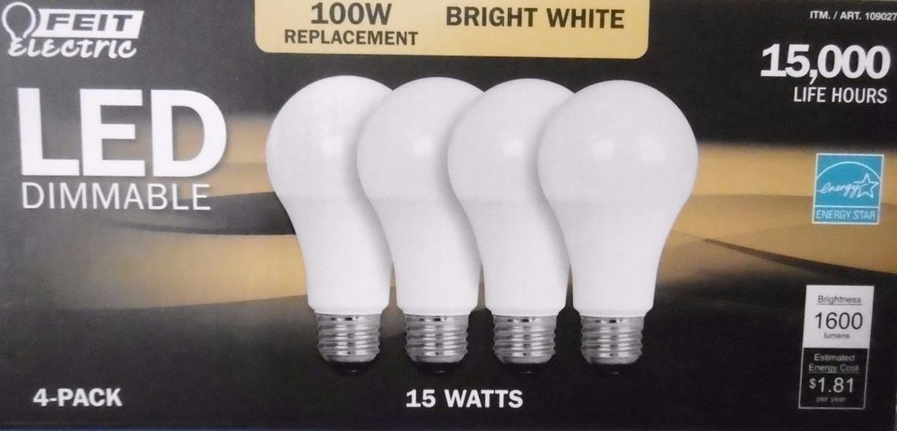 4 Pack 100w Led Dimmable 1600 Lumens Feit 100 Watt Replacement Uses Only 15watts Feitelectric Dimmable Led Led Led Bulb