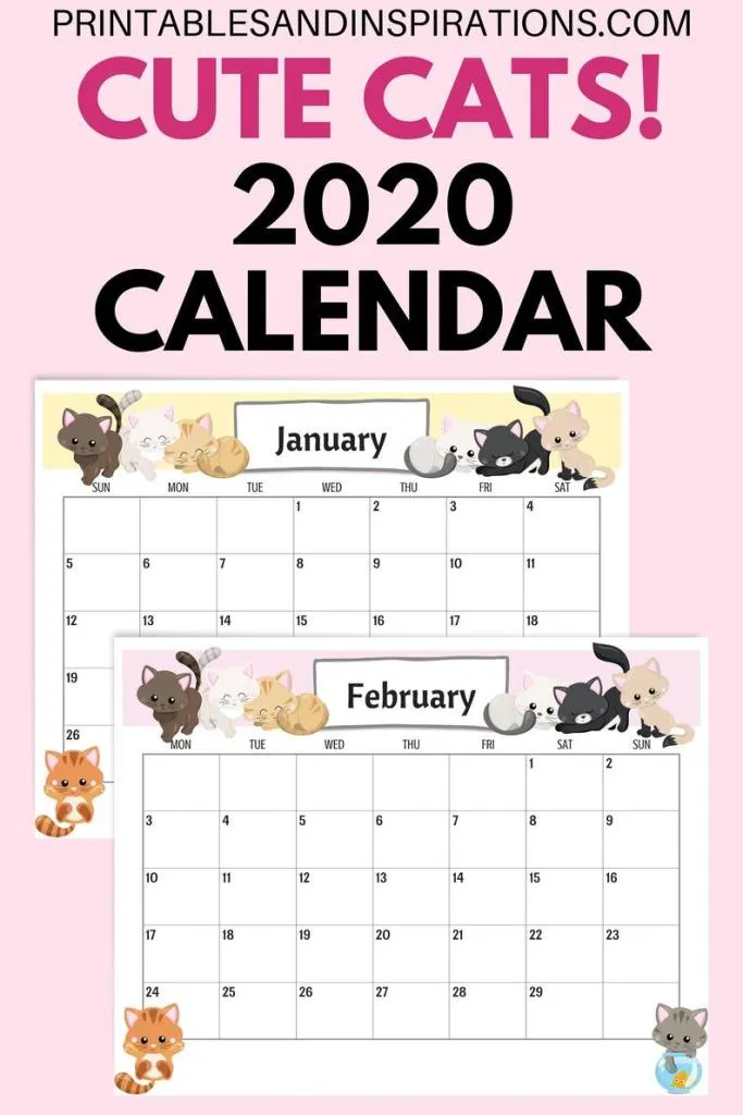 Cute Cats 2020 Calendar Printable Planner PDF with Free