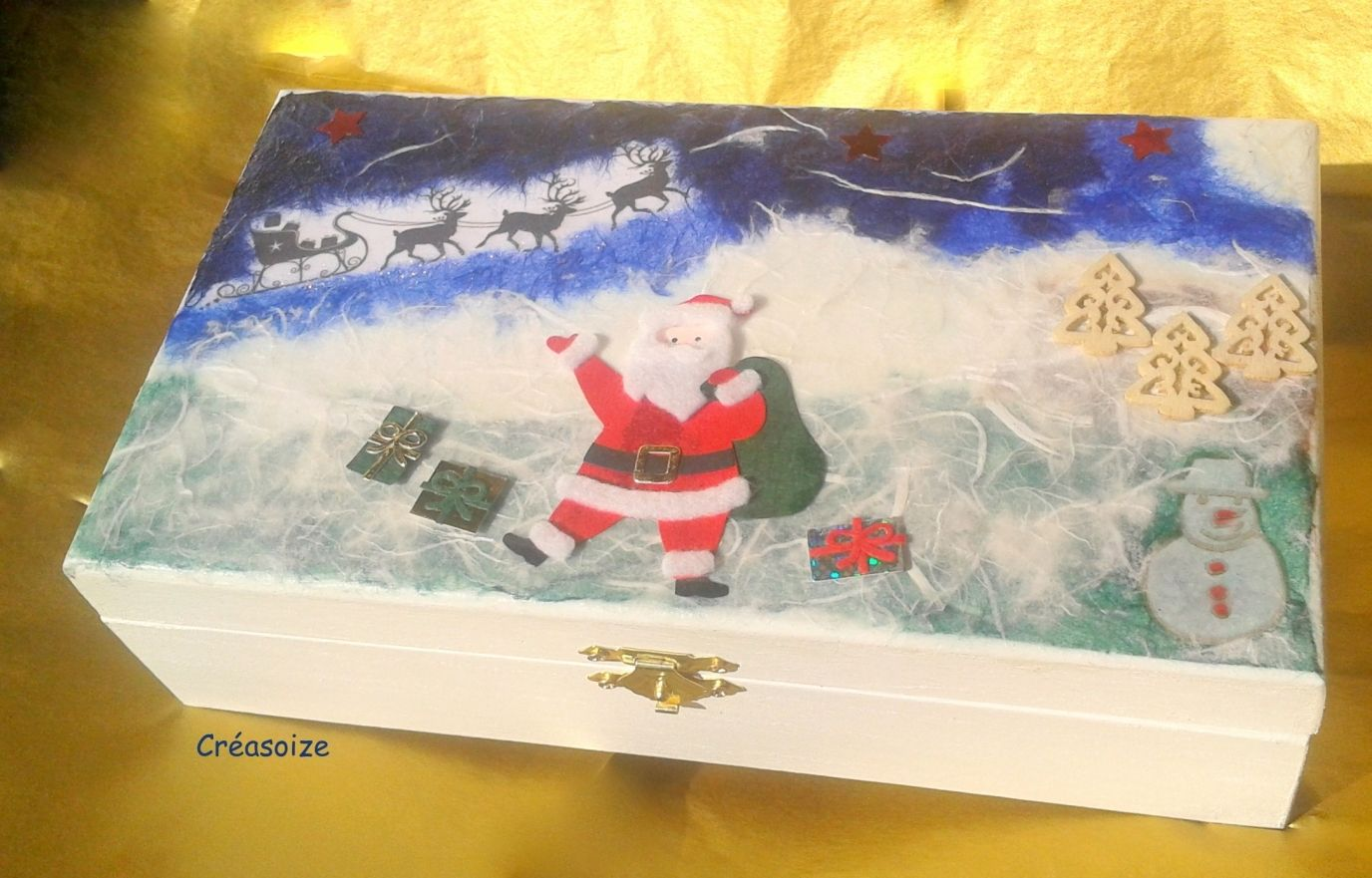 Coffret paysage Père Noël, son traîneau et ses rênes, HO HO ♪♫  http://www.alittlemarket.com/boutique/creasoize