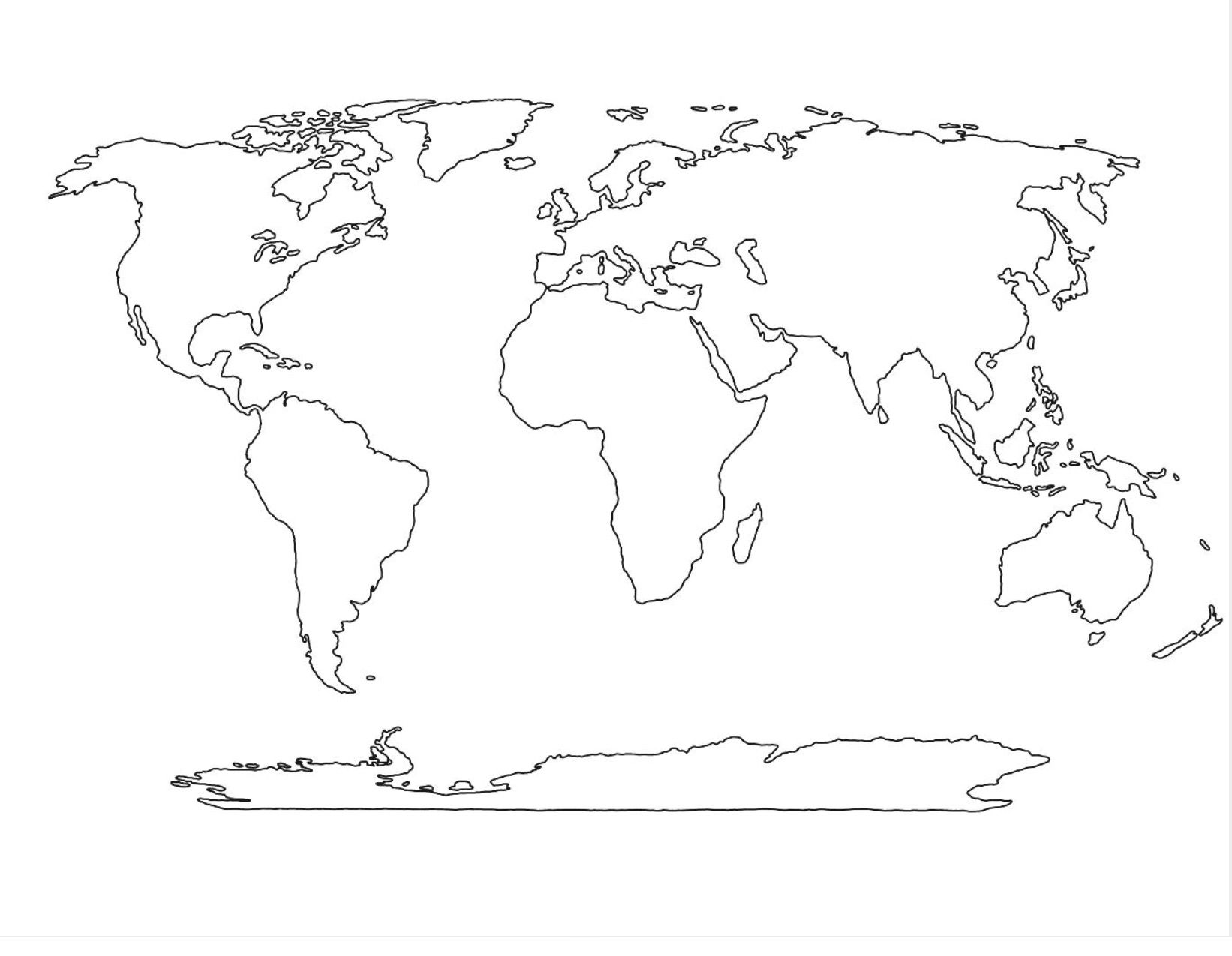 46 Concrete World Map Template Black And White In 2020 World Map