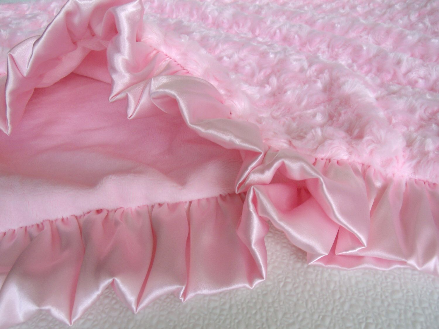 Smooth Pink Minky and Rose Swirl Baby Blanket by MinkyBabyGifts on Etsy https://www.etsy.com/listing/189997955/smooth-pink-minky-and-rose-swirl-baby