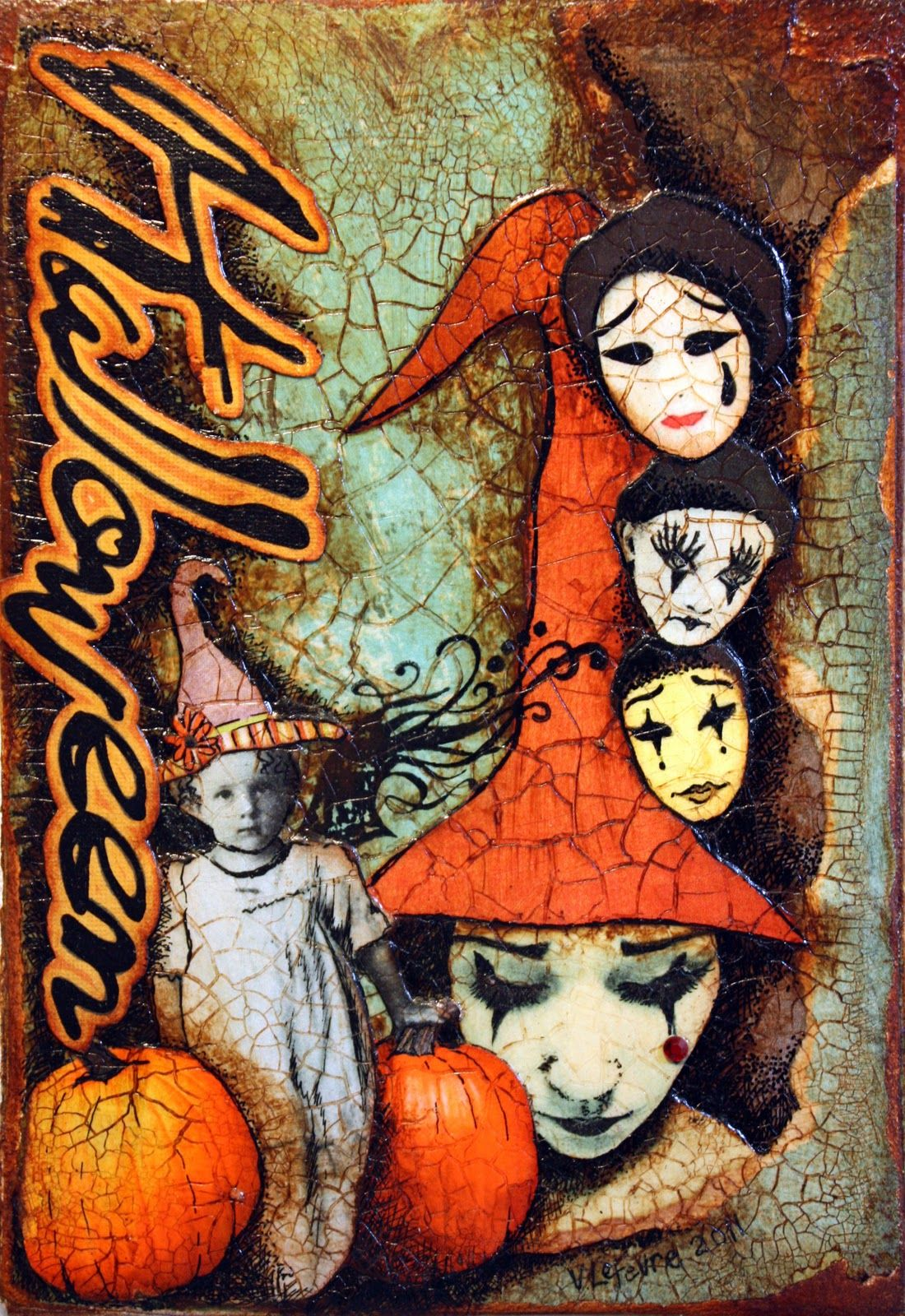 Happy October! Victoria art, Vintage halloween cards