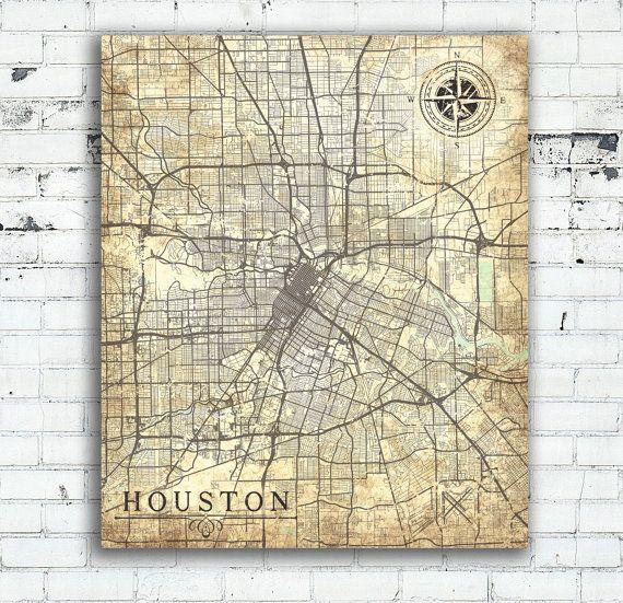 Houston Tx Canvas Print Texas Vintage Map Houston Tx City Wall Art