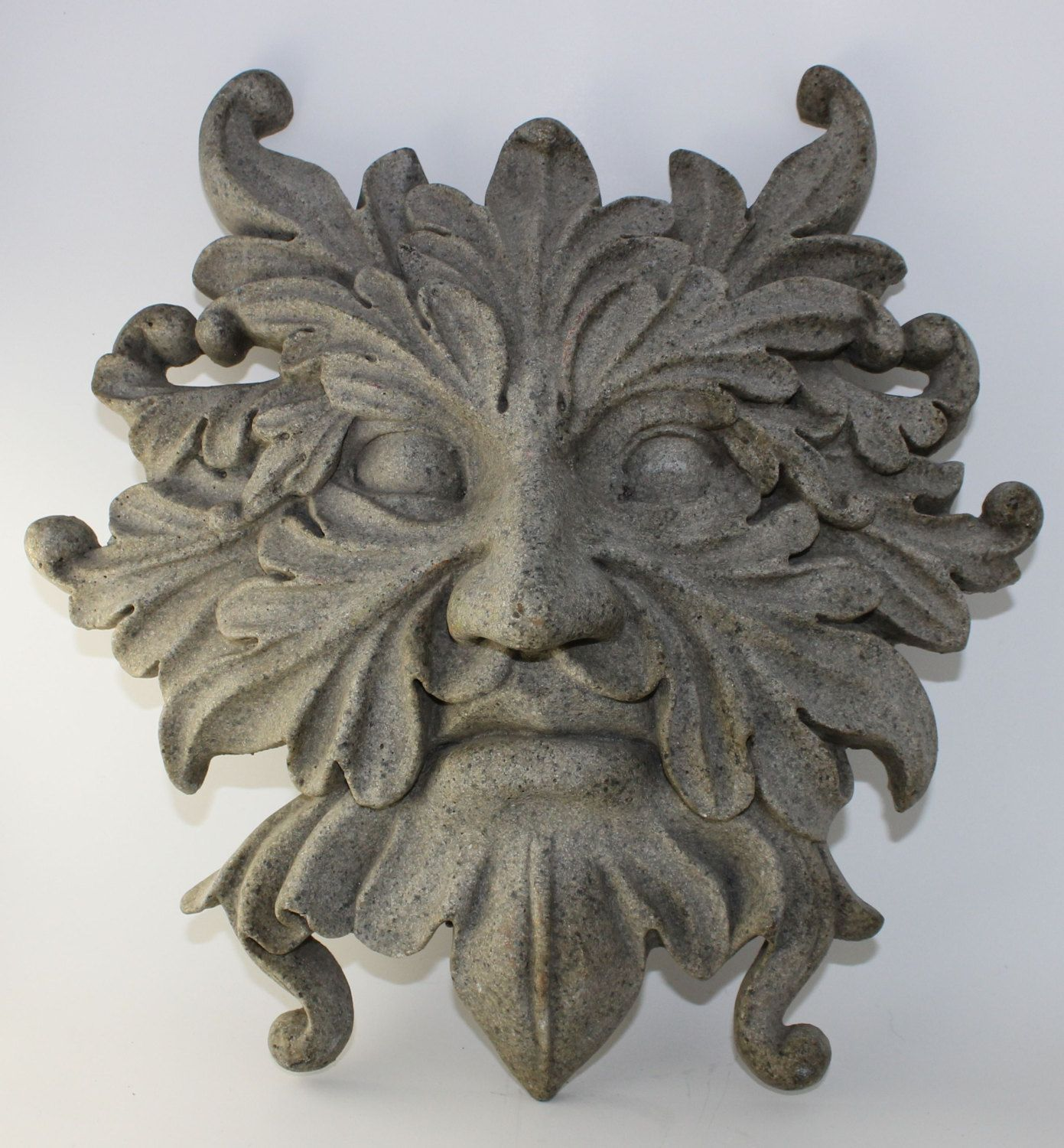Vintage green man pan mythical art medieval cement face panel wall vintage green man pan mythical art medieval cement face panel wall decor w7 amipublicfo Choice Image