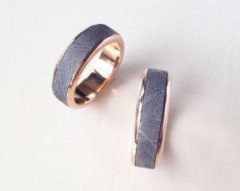 Titanium Ring with 14k Gold Meteorite Shavings by jewelrybyjohan