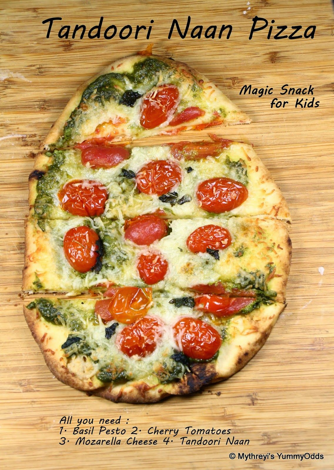 Yum! Yum! Yum!: Basil Pesto Naan Pizza ~ Under 15 Minutes