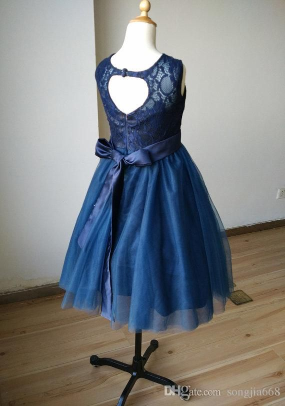 2fe55a371736 Navy Blue Lace Sweetheart Tulle Keyhole Flower Girl Dress Tutu Kids ...