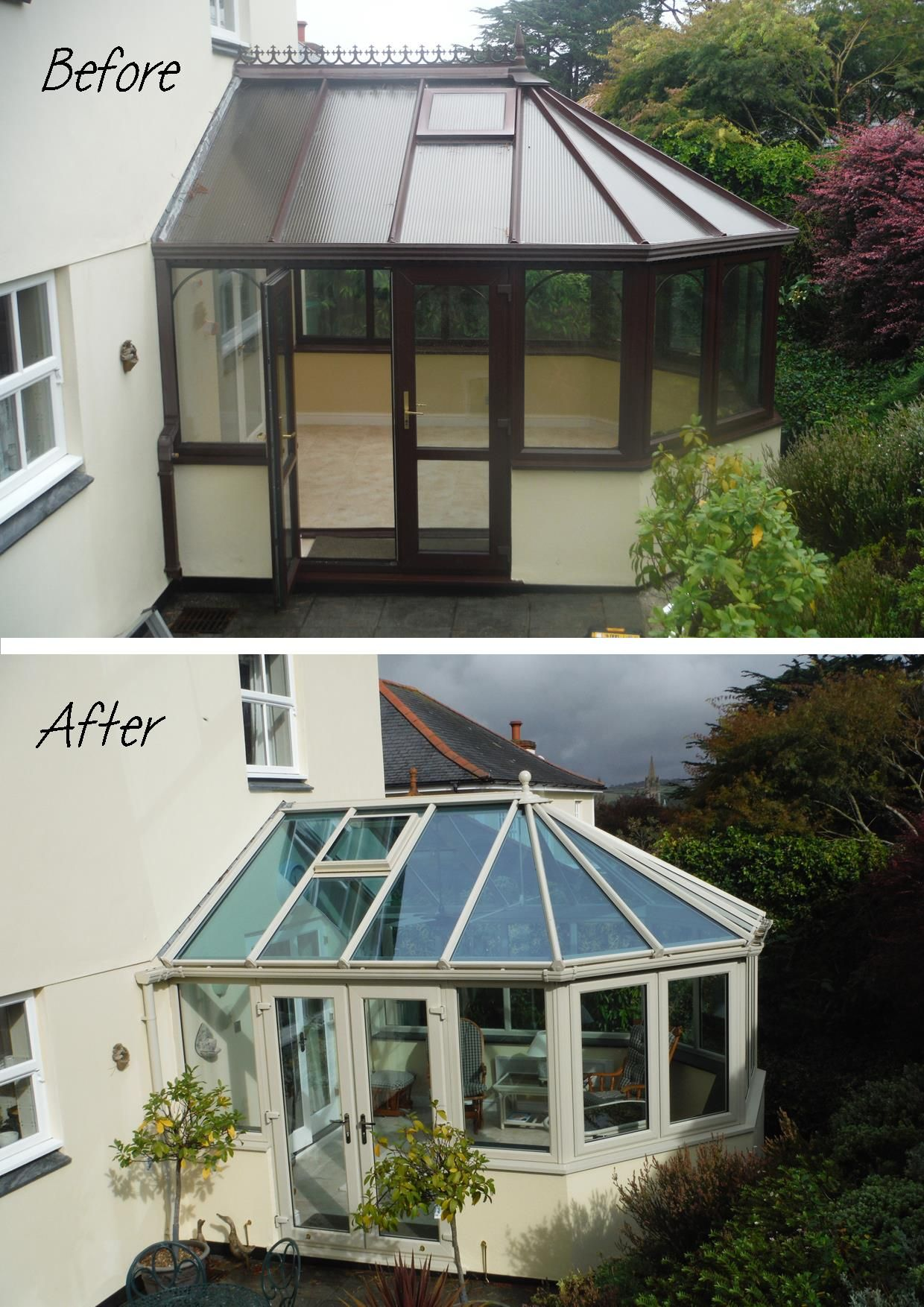 Before And After Painted Upvc Conservatory Installed In Truro Cornwall By Philip Whear Windo Conservatory Decor Conservatory Interiors Conservatory Interior