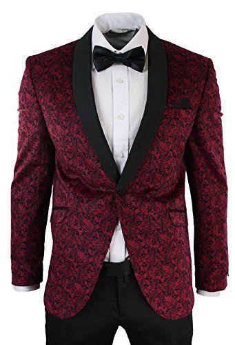 Mens Slim Fit Velvet Paisley Blazer   Trouser Tuxedo Dinner Suit Wine Black  - Royal Hub b67c7967c0