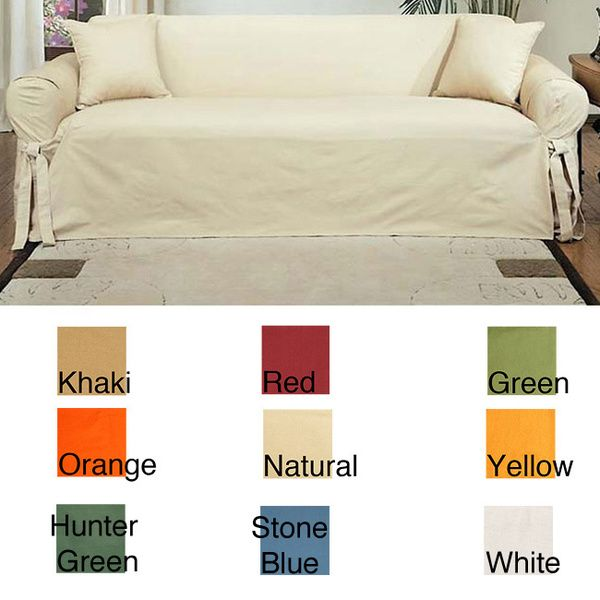 Machine Washable Cotton Duck Sofa Slipcover Overstock Shopping