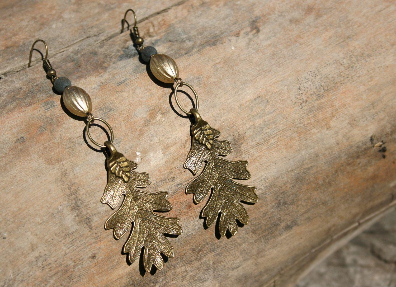 acorn. a pair of autumn oak leaf earrings. nature. boho.. $15.95, via Etsy.