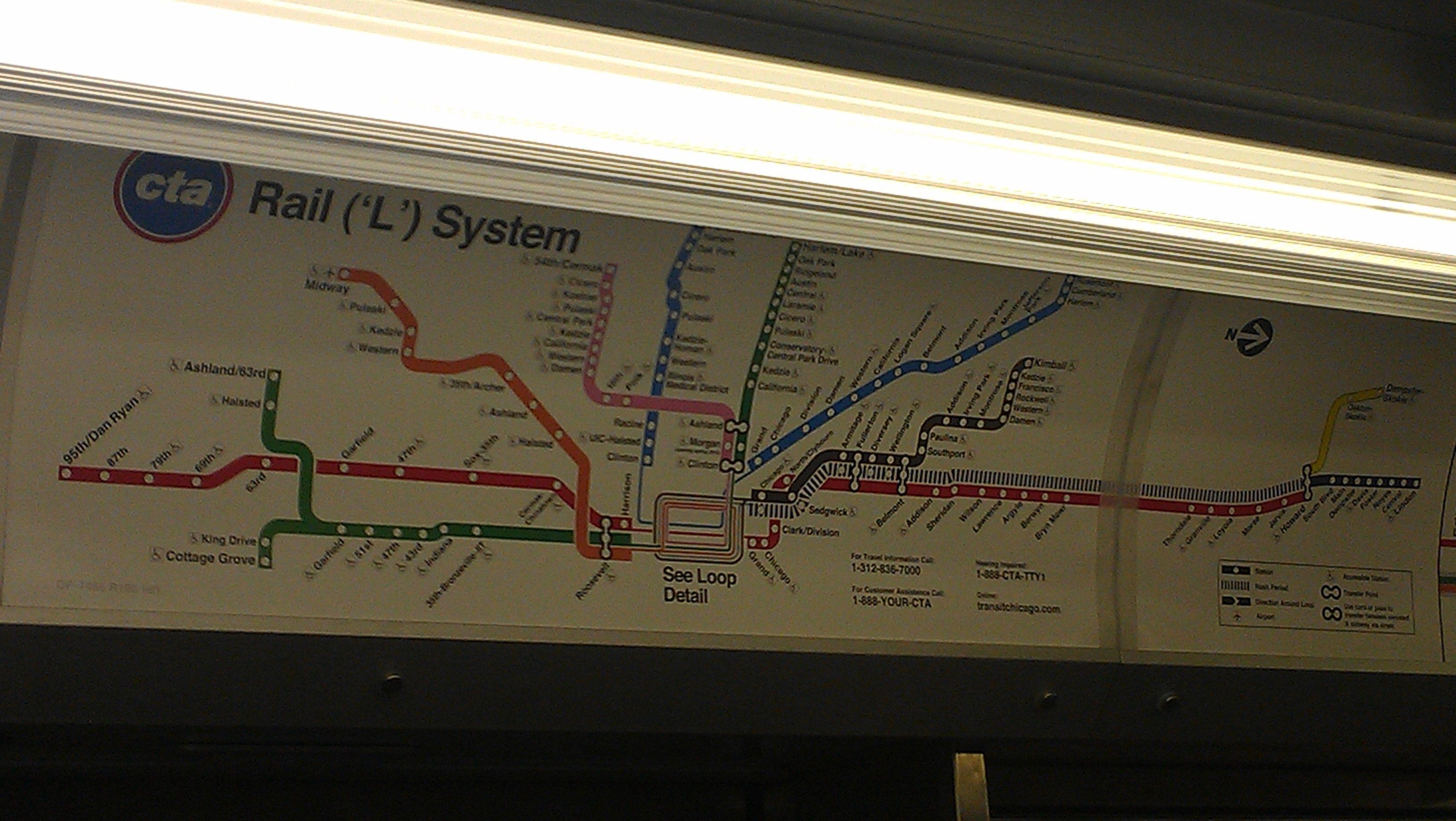 The CTA map onboard a subway car