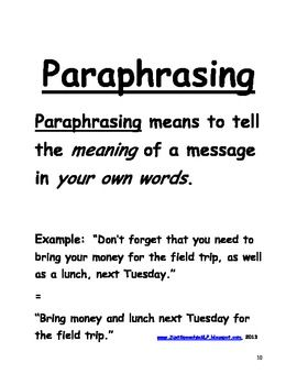 Paraphrasing Key Details in Sentences FREEBIE (With images