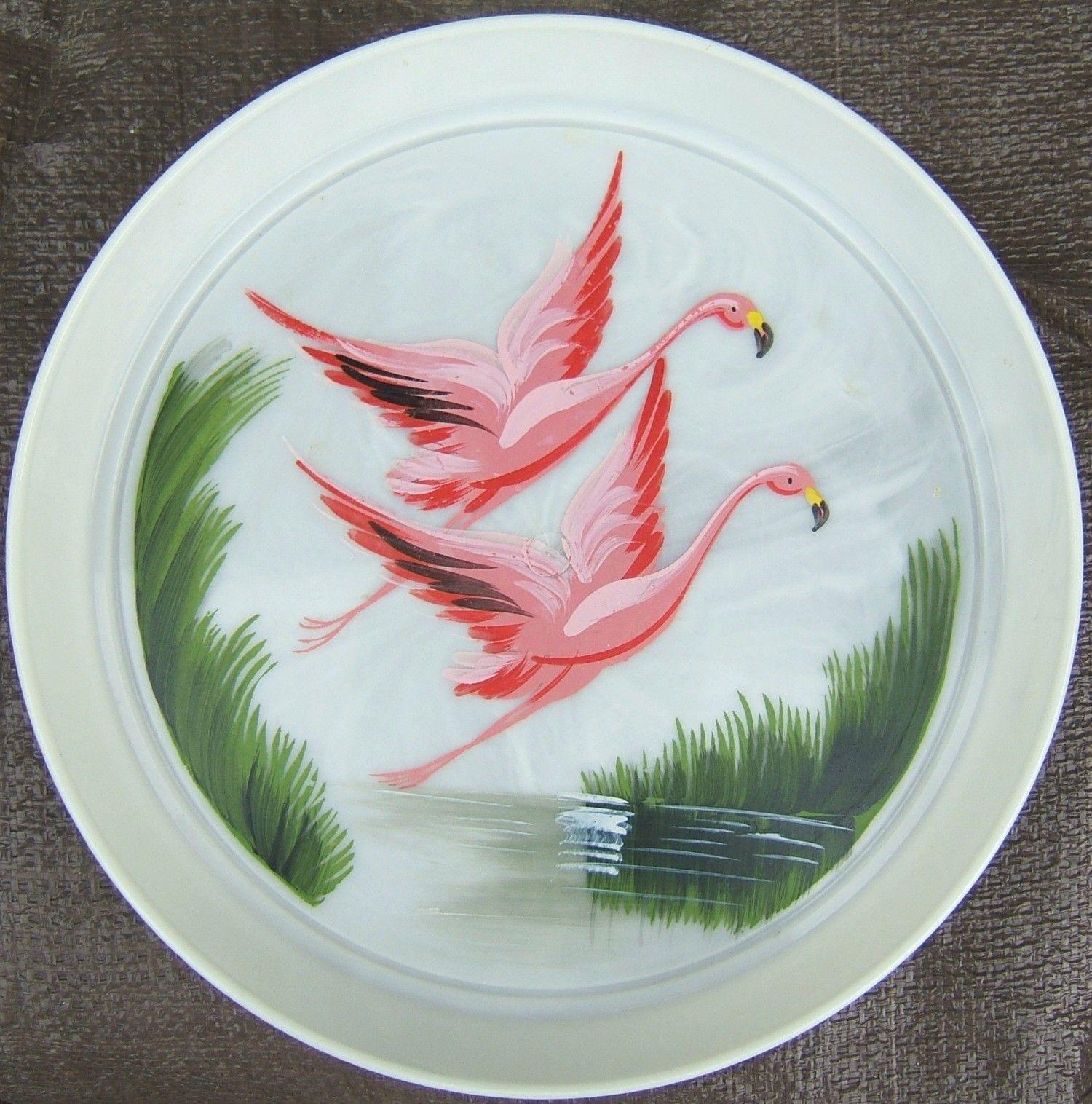 Decorative Plastic Serving Trays Vintage Pink Flamingo Scene Painted Plastic Serving Tray Platter