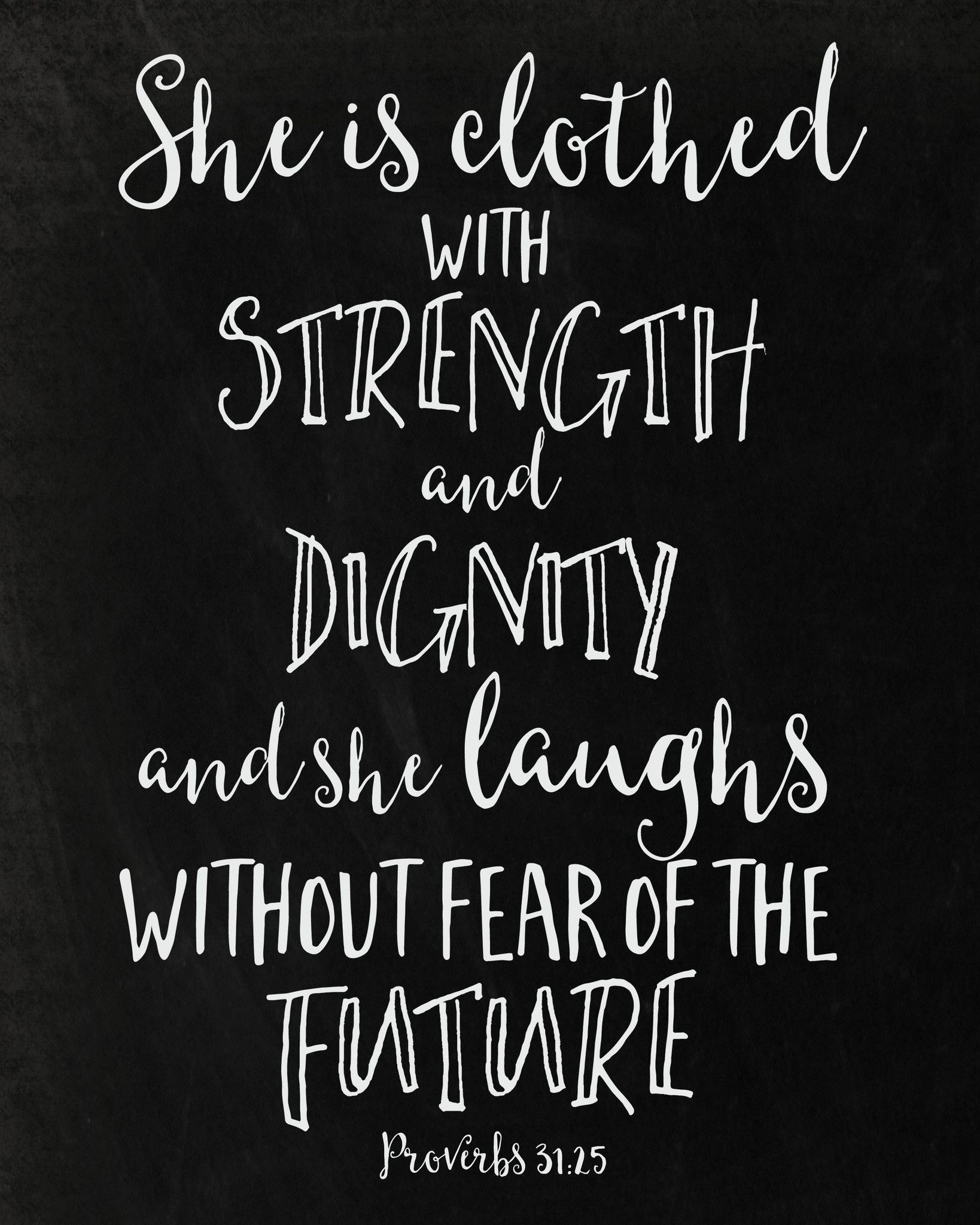 She Is Clothed With Strength And Dignity Print Joyfully Serve