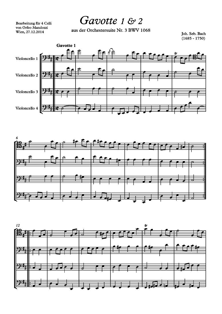 Orchestral Suite No 3 in D major, BWV 1068 (Bach, Johann Sebastian