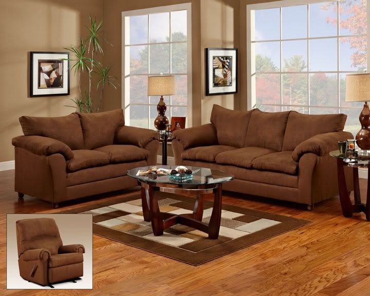 brown Living Room Furniture Sets | Chocolate Brown Fabric ...
