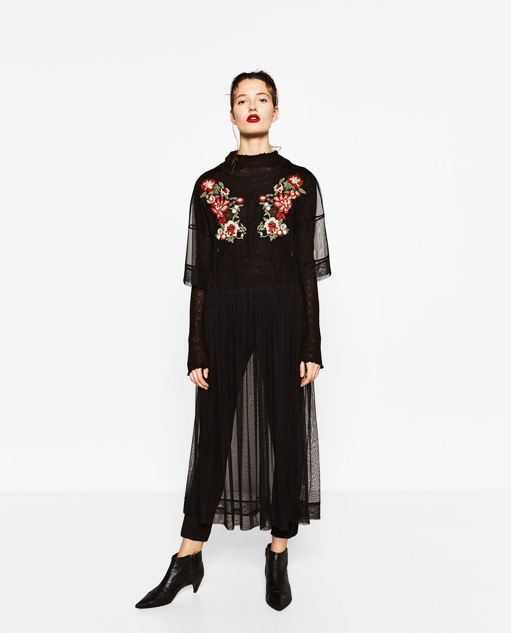 Black t shirt dress zara - Image 1 Of Embroidered Tulle Dress From Zara
