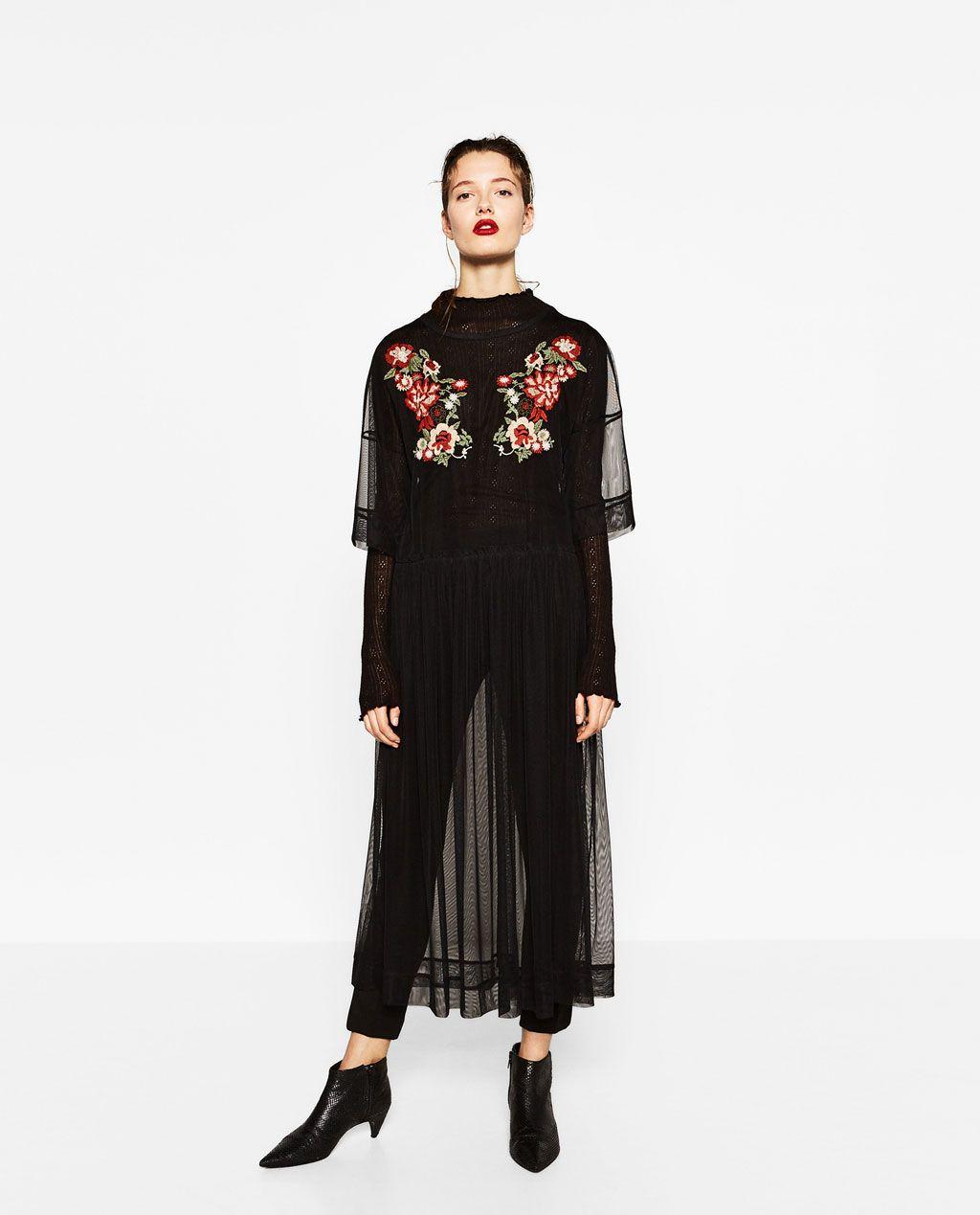 Image 1 Of Embroidered Tulle Dress From Zara Modestil Netzkleid Kleidung