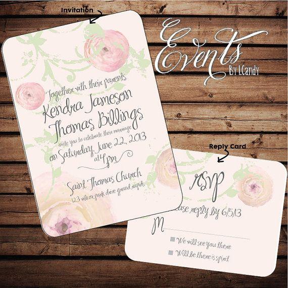 Peony Ranunculus Wedding Invitation Samples Pink Wedding Invitations Wedding Invitations
