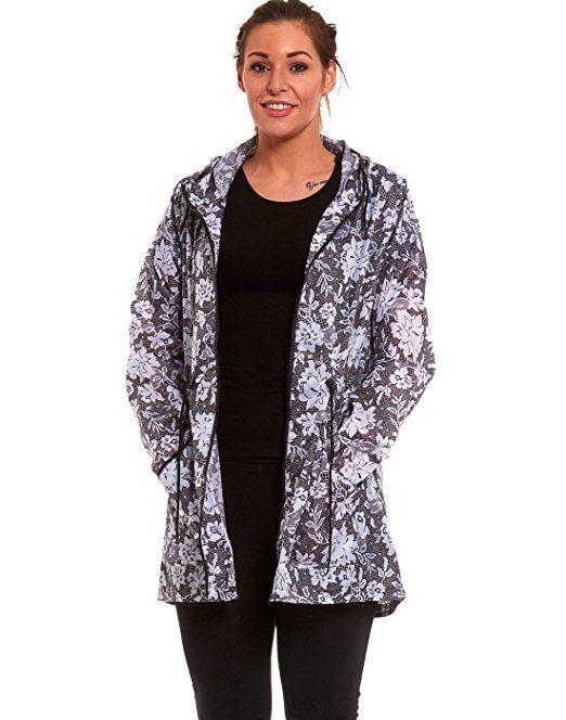 2ee46972a8c New Womens Ladies Raincoat fishtail lightweight rain mac parka festival  jacket  Amazon.co.
