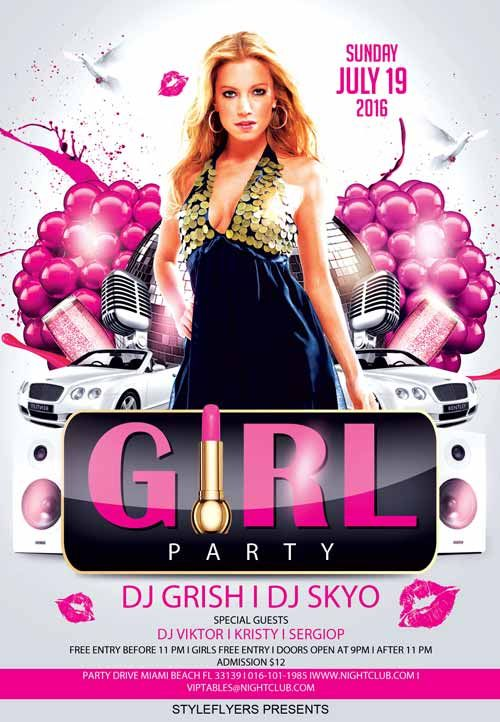 Party Girl Party Free Flyer Template  HttpFreepsdflyerCom