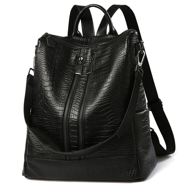 29.12$  Buy here  - 2017 New Arrival Korean Style Pu Leather Women Backpacks Fashion Crocodile Backpacks For Girls Casual Travel Women School Bag