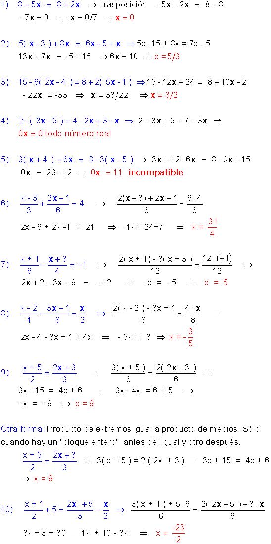Ejercicios Resueltos De Ecuaciones De Primer Grado Ecuaciones Matematicas Avanzadas Primeros Grados