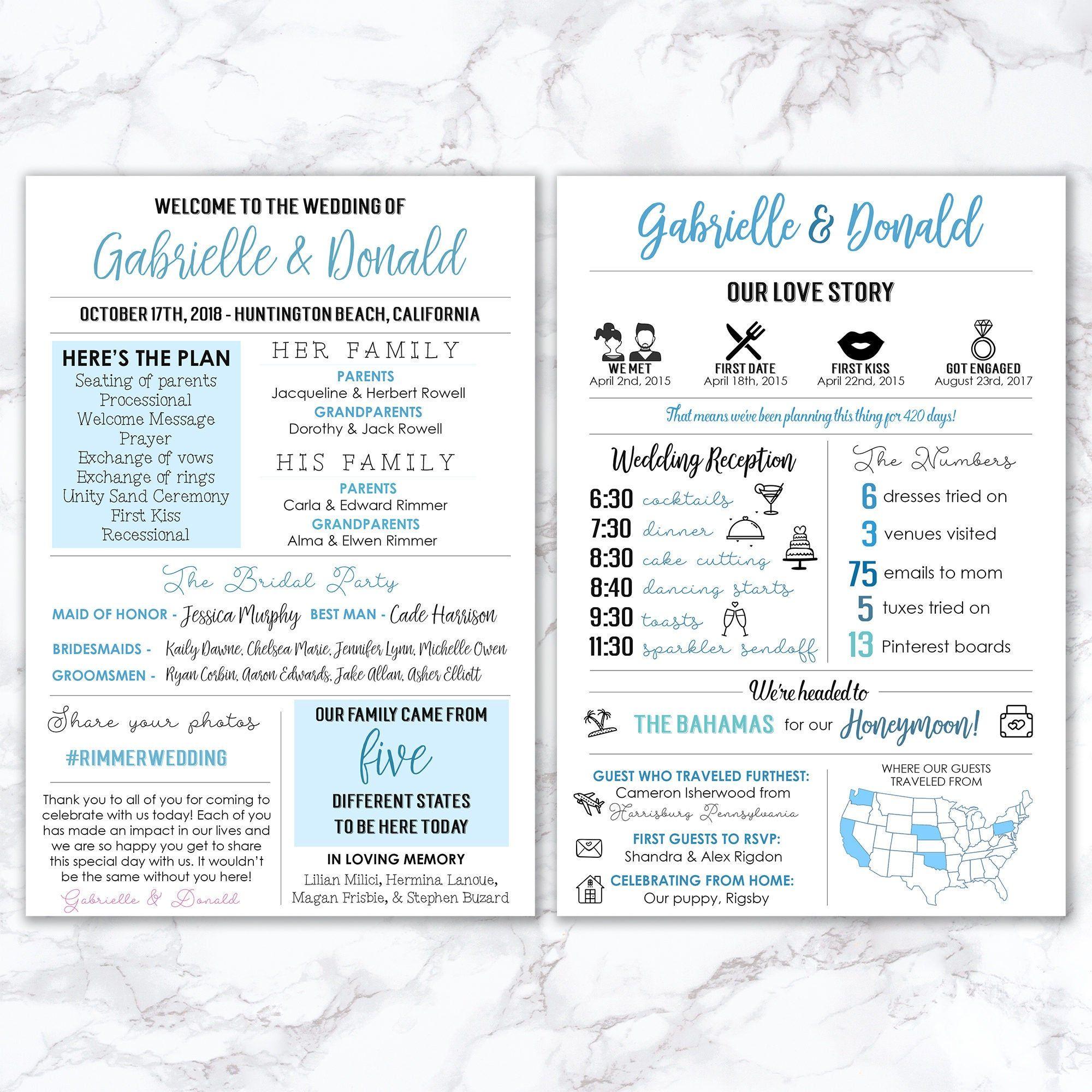 Printable Infographic Wedding Program, Unique Wedding