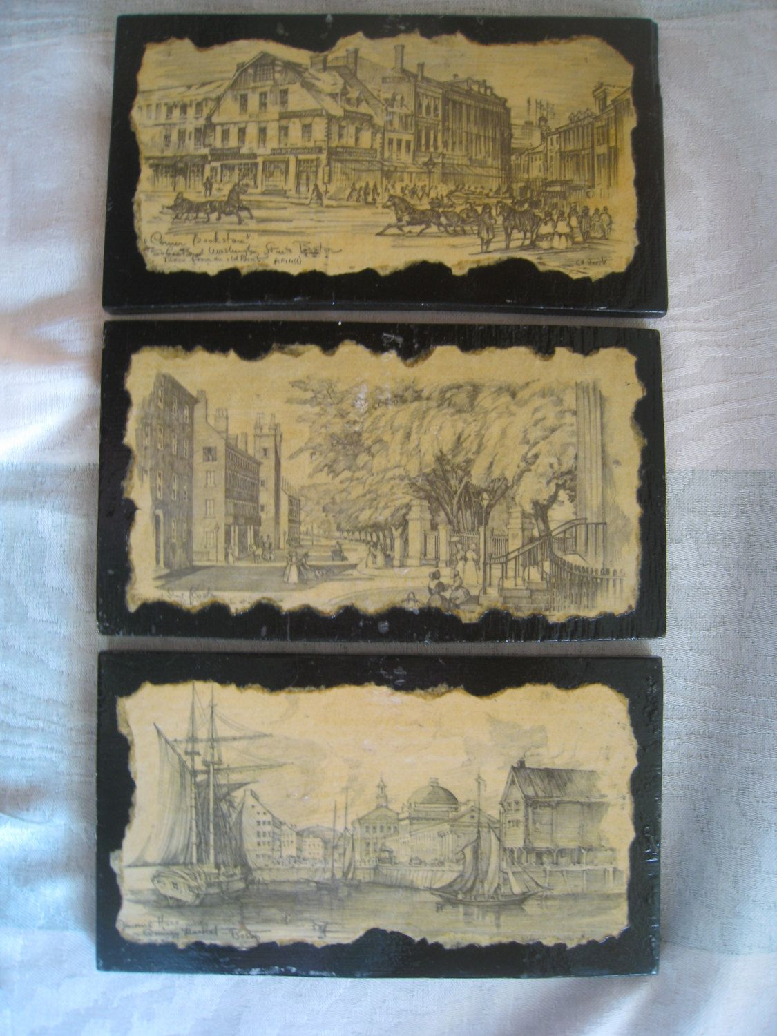 Boston prints 1800 early scenes originals mounted on black painted wood priced per unit (up to 3) by ANoteofThanks on Etsy