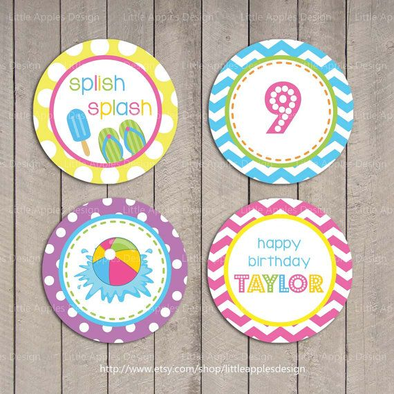 Kids Pool Party Cupcake Toppers / Pool Cupcake Toppers
